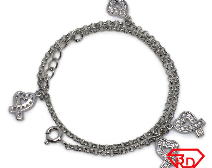 Heart charm Chain 10 inch Anklet 14K White Gold Layer