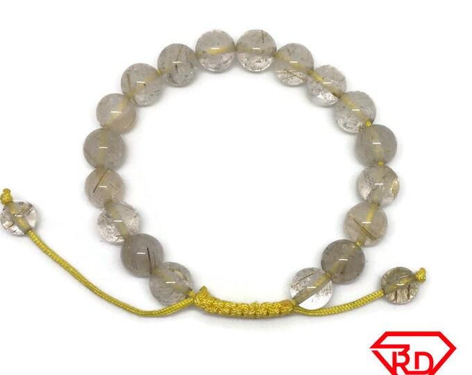 White transparent Crystal beads Adjustable Bracelet
