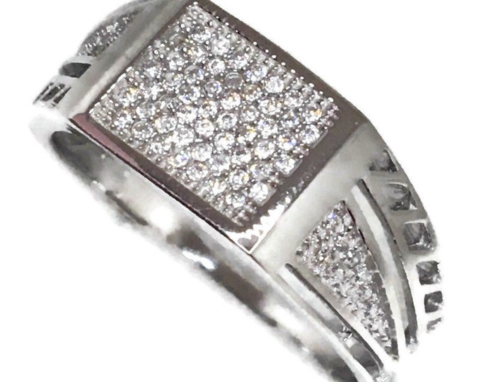 Cubic Zirconia ring rectangle white gold on Silver (11 . 75 )