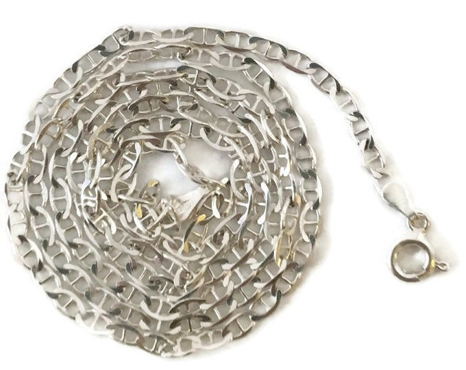 Brand New Anti-tarnish Silver Necklace 18 inch big flat cable chain with spring ring clasp