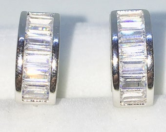 Brand New White Gold on 925 Solid Sterling Silver One sided white emerald CZ hoop Earrings ( 14 . 0 mm )