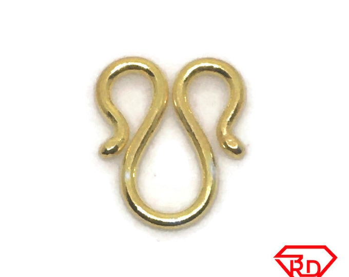 short M or W hook clasp jewelry making .999 Yellow gold layer