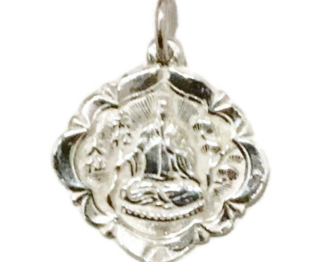 New Silver Pendant rounded square buddha and fortune ( 16 . 9 mm )