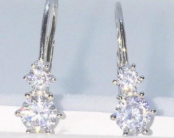 Brand New White Gold on 925 Solid Sterling Silver Double Six Prong Basket white round CZ Dangle Drop Earrings ( 5 . 9 mm )