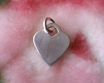 Engravable Flat Small Heart Name Plate Solid .925 Anti Tarnish Sterling Silver Pendant