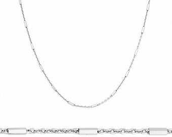 14k White Gold / 925 Sterling Silver Bar & Cable Italian Necklace Chain- 1.3 mm 18 ""
