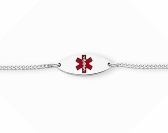 "Sterling Silver 18mm Oval Baby / Children Medical Alert ID Bracelet Adjustable 5""-6"""