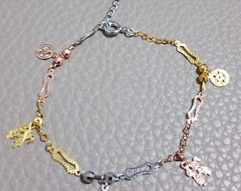14k Tri-Color Gold Layer on 925 Sterling Silver Dangling Boy And Girl Kiss Charms Bracelet