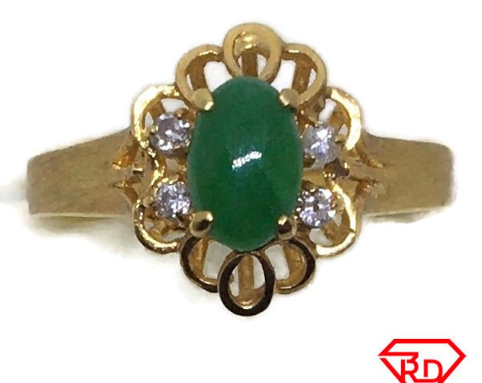 Handcraft 14k diamond and green thin jade ring S4 . 75