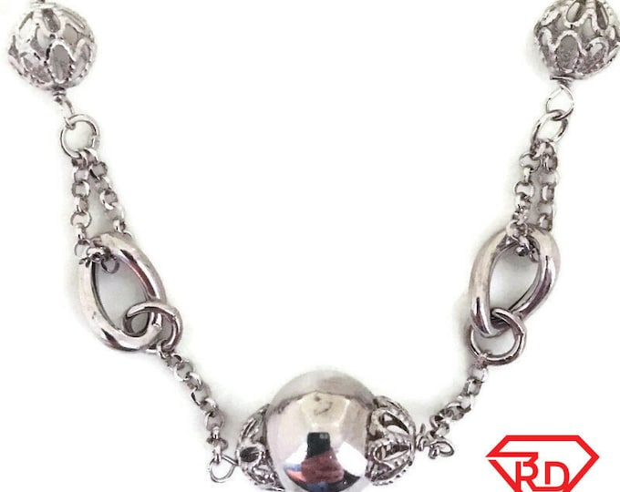 White gold layer on silver necklace Sphere decoration 18 inch