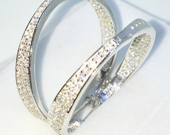 Brand New White Gold on 925 Solid Sterling Silver Two sided tiny white round CZ medium hoop Earrings ( 27 . 5 mm )