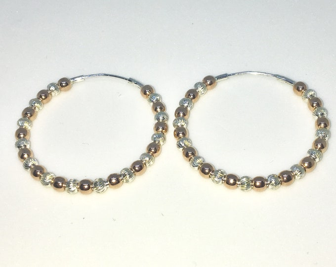 New 14k Pink Gold on 925 Sterling Silver Smooth Spheres and Twisted Spheres in Hoop Earrings ( 2 . 9  mm )