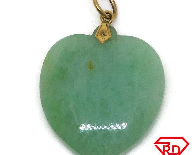Medium Heart Green Jade charm pendant 14k Solid Yellow gold