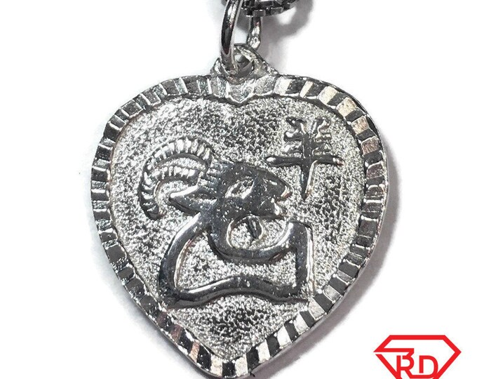 "New 925 Silver Chinese Character Writing ""Happiness"" &  Ram / Goat Heart Charm Pendant Reversible Design"