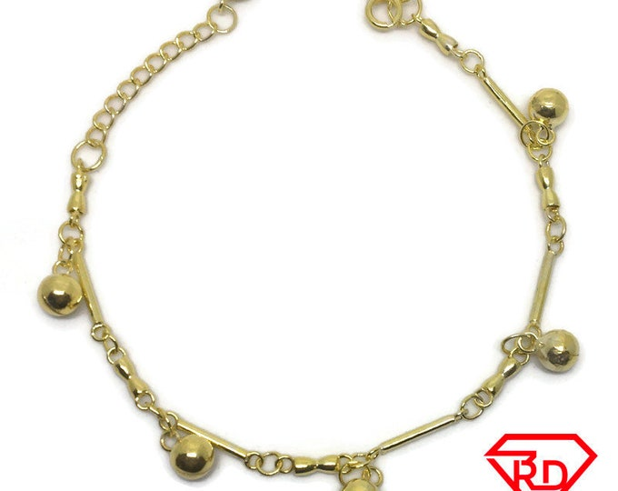 Bells & bar charm 8 inch Bracelet 999 Yellow Gold Layer