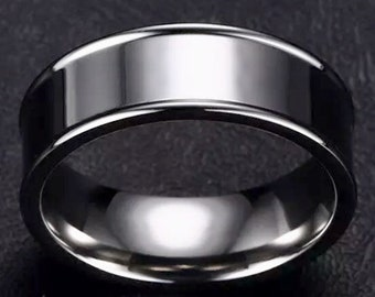 White Gold plated on Stainless Steel wide Ring Band 8.2mm S-10