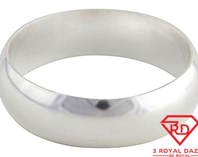 Solid 999 fine silver high polished glossy plain wedding ring band 5.7 mm s- 2.5