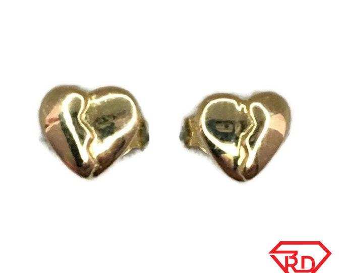 Brand New Yellow gold on 925 Silver Studs Earrings Small Breaking Heart ( 5 . 4 mm )