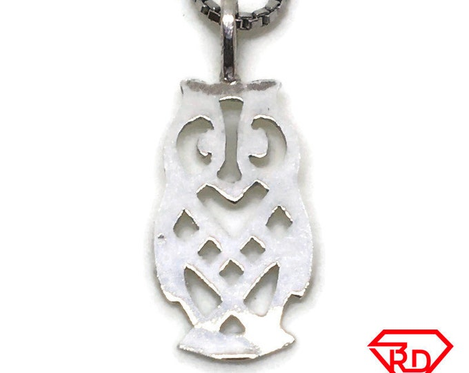 Artistic Owl tiny charm pendant 925 Solid Silver