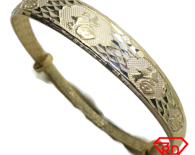 Diamond cut Fortune slip in Bangle 999 Yellow Gold Layer