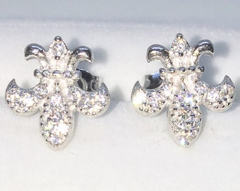 Brand New White Gold on 925 Solid Sterling Silver Fleur de Lis with white round CZ studs Earrings ( 10 . 6  mm )