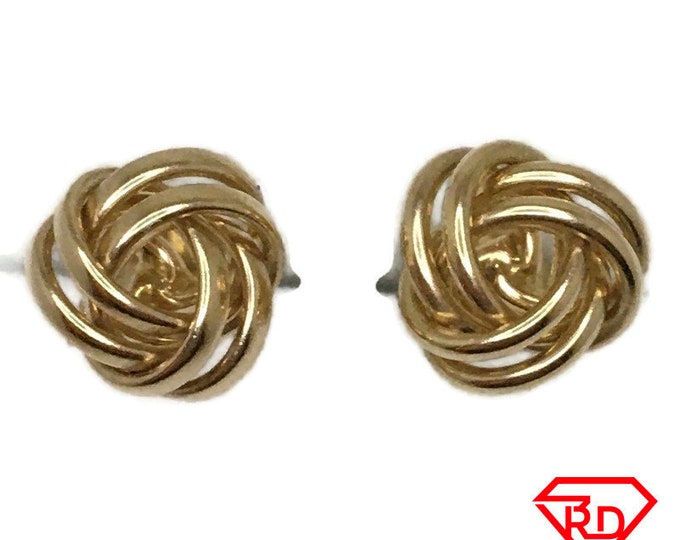 14K round knot stud Earrings of solid yellow gold