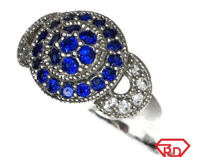Blue Cubic Zirconia ring circle white gold on Silver (6 . 5)