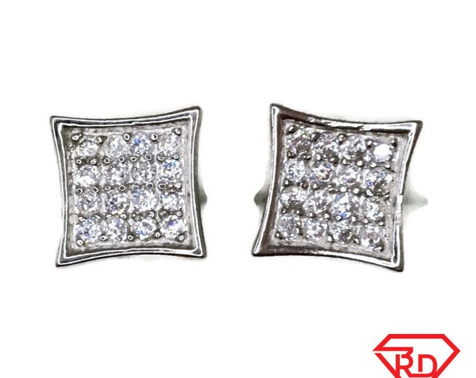 Brand New white gold on 925 Silver Studs Earrings pointy Square with 4x4 white round CZ ( 9 . 2 mm )