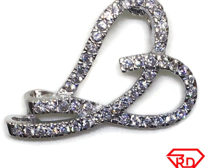 Curvy Heart CZ charm pendant White gold layer