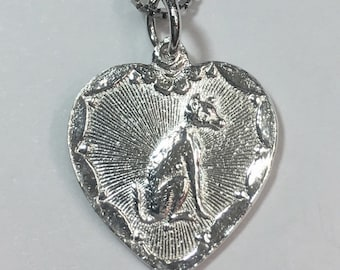 """New 925 Chinese Character Writing """"Lucky"""" &  Dog Silver Heart Charm Pendant Reversible Design"""