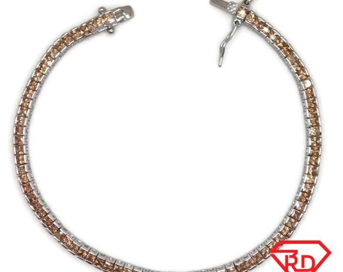 New White Gold Layered Tennis Bracelet square bezel set princess peach CZ