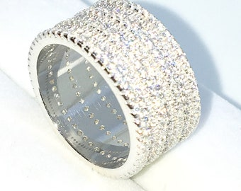 New Handcraft White Gold Plated on Sterling Silver ring band with 7 layer rows of round white CZ
