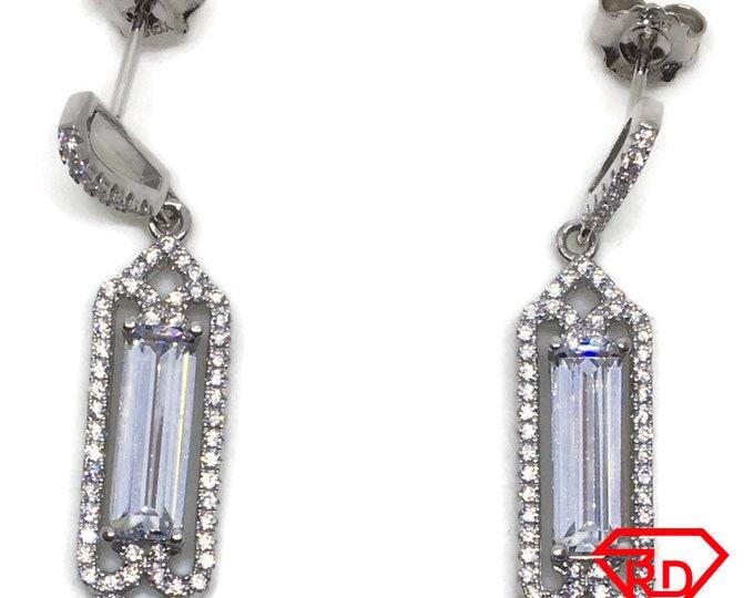White Emerald CZ Shard Dangle Earrings white gold layer