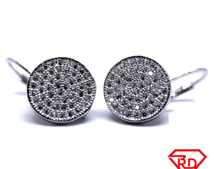 14K White Gold on Sterling Silver Circle Leverback Earrings