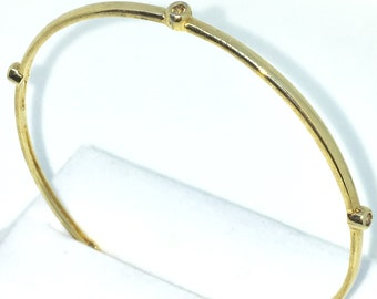 New Yellow Gold Layered on 925 Solid Sterling Silver Bangle Bracelets penta round CZ plain slip in