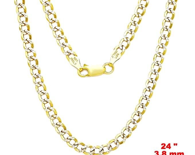 "Italian diamond cut 14k white & yellow gold layered over 925 silver- 3.8mm Curb Chain 24"""
