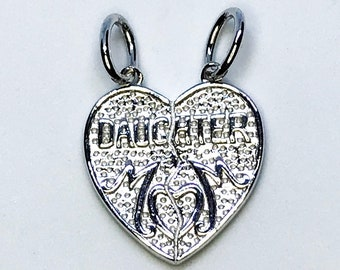 NEW 14K White Gold Layered on .925 Sterling Silver Mom-Daughter Broken Heart Pendant