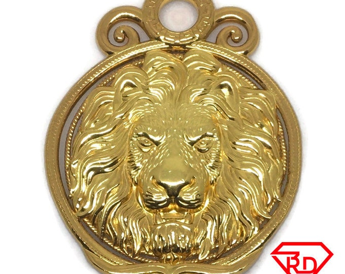 Heavy Round Lion charm pendant 24k Yellow gold on 999 Silver