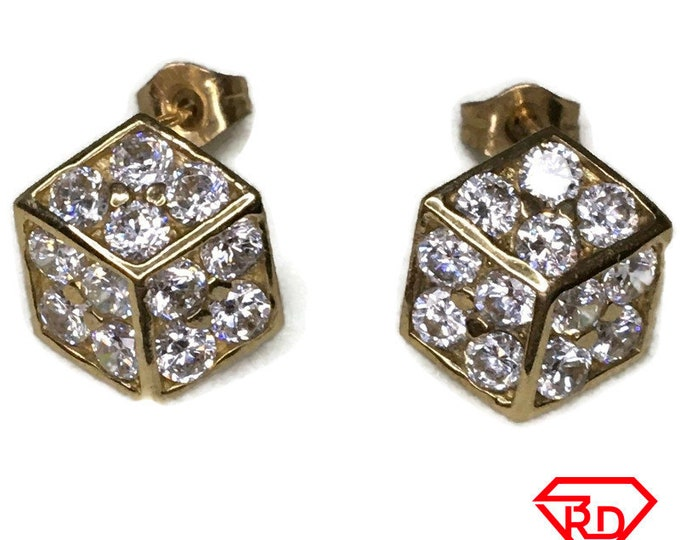 14K Cubic Zirconia large Dice Stud Earrings of Yellow gold