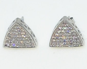 14k White Gold Layered Triangle shaped CZ on 925 Solid Sterling Silver Stud Earrings ( 11 . 8 mm )