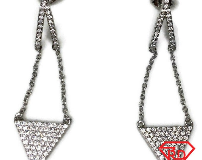 Cubic Zirconia dangle Earrings triangle White Gold on Silver