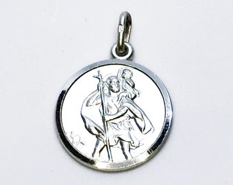 NEW 14K White Gold Layered on .990 Sterling Silver Religious Circle Plate Pendant