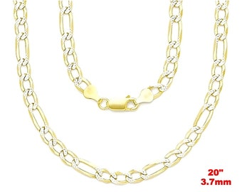 "Italian diamond cut 14k white & yellow gold layered over 925 silver Figaro Chain-3.7mm-20"""