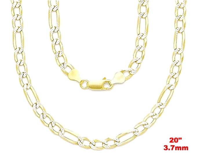 Italian diamond cut 14k white & yellow gold layered over 925 silver Figaro Chain-3.7mm-20""