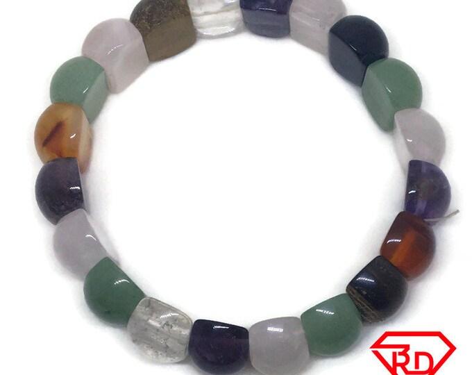 Half Sphere Multi Color Glass Crystal Elastic Bracelet