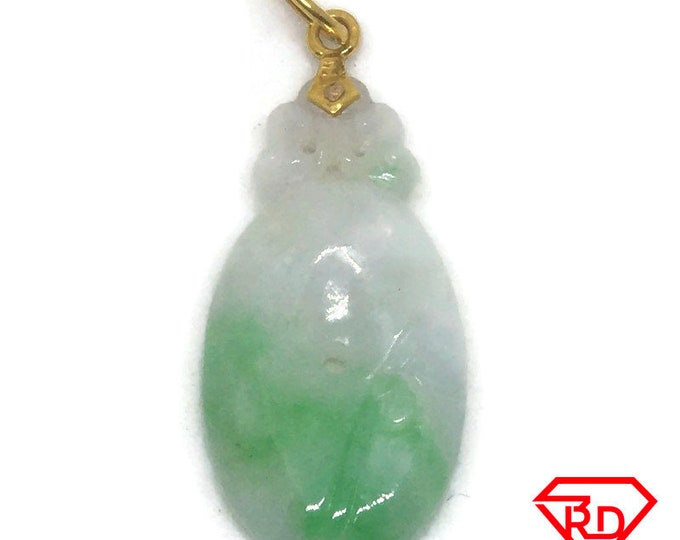 Small Hanging Oval Jade 14K Yellow gold Pendant