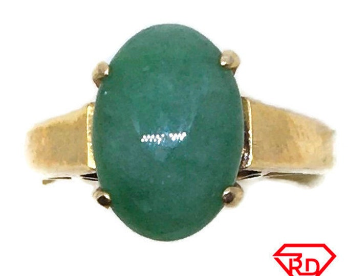 Handcraft 14k gold and Light green jade ring S7 . 25