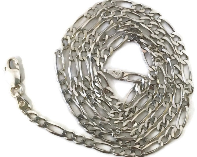 Brand New Anti-tarnish Silver Necklace 22 inch figaro chain with lobsterclaw clasp