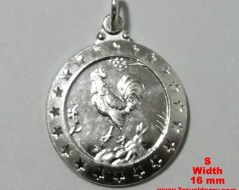 Small Chinese Zodiac Horoscope 999 fine Silver Round Year of Rooster Pendant charm