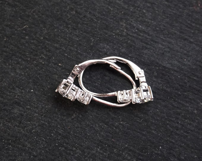New 14k White Gold on 925 Sterling Silver Cute Double CZ Geometric Earrings ( 6 . 0 mm )